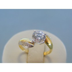 Zlatý dámsky prsteň žlté biele zlato zirkón v korunke DP55229V 14 karátov 585/1000 2.29g