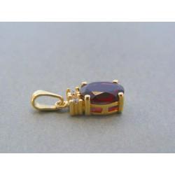 Zlatý dámsky prívesok český granát žlté zlato DI171Z 14 karátov 585/1000 1.71g