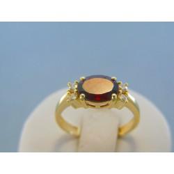 Zlatý dámsky prsteň český granát žlté zlato VP57298Z 14 karátov 585/1000 2.98g