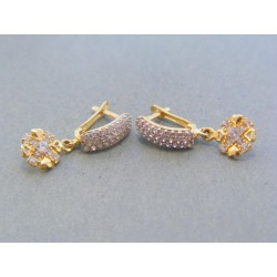 Zlaté dámske visiace náušnice kamienky žlté zlato VA211Z 14 karátov 585/1000 2.11g