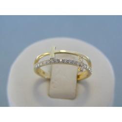 Zlatý dámsky prsteň s krížikom s kamienkami zirkónu VP54166 14 karátov 585/1000 1.66g