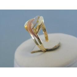 Zlatý dámsky prsteň vzorovaný žlté červené biele zlato VP55224V 14 karátov 585/1000 2.24g