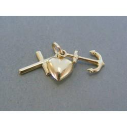 Zlatý prívesok srdiečko krížik kotva VI228Z 585/1000 14 karátov 2.28g