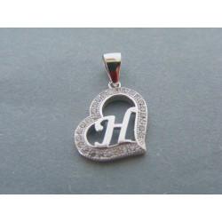 Strieborný dámsky prívesok písmeno H zirkóny DIS124 925/1000 1.24g