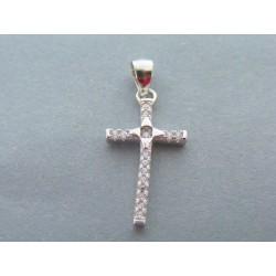 Strieborný prívesok krížik zirkóny DIS117 925/1000 1.17g