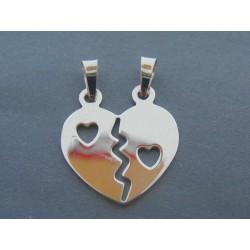 Strieborný prívesok srdce pre ňu a pre neho DIS301 925/1000 3.01g
