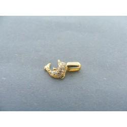 Zlatý prívesok delfín žlté zlato zirkóny DI059Z 14 karátov 585/1000 0.59g