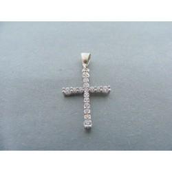 Zlatý prívesok krížik biele zlato zirkóny DA088B 14 karátov 585/1000 0.88g