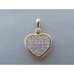 Zlatý dámsky prívesok srdce žlté zlato zirkóny VI167Z 14 karátov 585/1000 1.67g