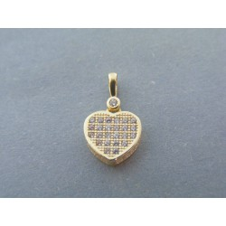 Zlatý dámsky prívesok srdce žlté zlato zirkóny VI119Z 14 karátov 1.19g