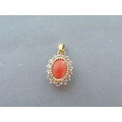 Zlatý dámsky prívesok oranžový kameň zirkóny VI146Z 14 karátov 585/1000 1.46g
