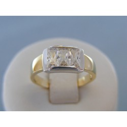 Zlatý dámsky prsteň žlté biele zlato zirkóny VP57380V 14 karátov 585/1000 3.80g
