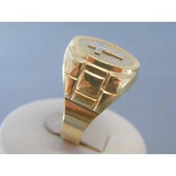 Zlatý pánsky prsteň biele žlté zlato krížik VP68708V 14 karátov 585/1000 7.08g