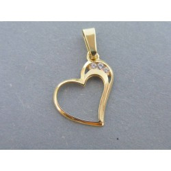 Zlatý dámsky prívesok srdce zirkóny VI094Z 14 karátov 585/1000 0.94g