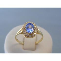 Zlatý dámsky prsteň modrý kameň zirkóny VP62287Z 14 karátov 585/1000 2.87g