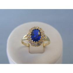 Zlatý dámsky prsteň modrý kameň zirkóny žlté zlato VP54243Z 14 karátov 585/1000 2.43g