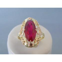 Zlatý dámsky prsteň vzorovaný červené žlté zlato VP62437V 14 karátov 585/1000 4.37g