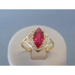 Zlatý dámsky prsteň žlté zlato ružový zirkón VP57179Z 14 karátov 585/1000 1.79g
