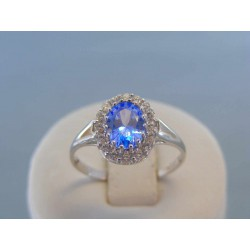 Zlatý dámsky prsteň biele zlato modrý zirkón DP59286B 14 karátov 585/1000 2.86g