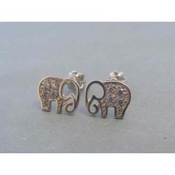 Zlaté dámske náušnice biele zlato slon DA163B 14 karátov 585/1000 1.63g
