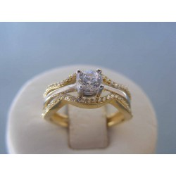 Zlatý dámsky prsteň žlté biele zlato zirkóny VP54347V 14 karátov 585/1000 3.47g