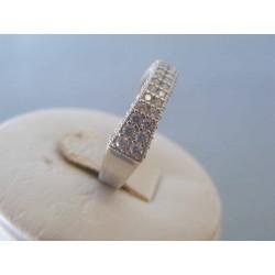 Zlatý dámsky prsteň biele zlato zirkóny DP55298B 14 karátov 585/1000 2.98g