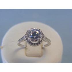 Zlatý dámsky prsteň zirkóny biele zlato DP54210B 14 karátov 585/1000 2.10g