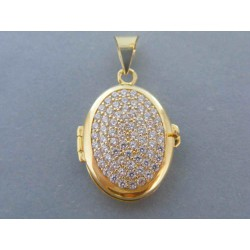 Zlatý dámsky prívesok roztvarací oval zirkóny DI677Z 14 karátov 585/1000 6.77g