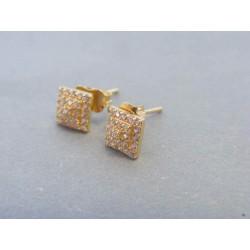 Zlaté dámske náušnice napichovačky žlté zlato zirkóny DA130Z 14 karátov 585/1000 1.30g
