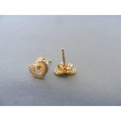 Zlaté dámske náušnice napichovačky zirkóny DA105Z 14 karátov 585/1000 1.05g