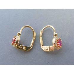 Zlaté dámske náušnice ružový zirkón DA252Z 14 karátov 585/1000 2.52g