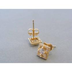 Zlaté dámske náušnice kocky zirkóny DA144Z 14 karátov 585/1000 1.44g