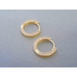 Zlaté dámske náušnice kruhy zirkóny žlté zlato DA255Z 14 karátov 585/1000 2.55g