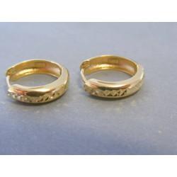 Zlaté dámske náušnice vzorované žlté zlato DA249Z 14 karátov 585/1000 2.49g