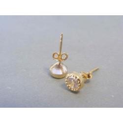 Zlaté dámske náušnice napichovačky zirkón žlté zlato DA143Z 14 karátov 585/1000 1.43g