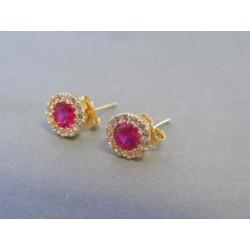 Zlaté dámske náušnice napichovačky ružovy zirkón DA135Z 14 karátov 585/1000 1.35g