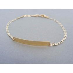 Zlatý detský náramok biele žlté zlato platnička DN155145Z 14 karátov 585/1000 1.45g