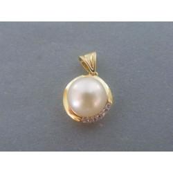 Zlatý dámsky prívesok perla zirkóny žlté zlato VI250Z 14 karátov 585/1000 2.50g