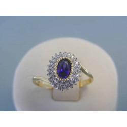 Zlatý dámsky prsteň žlté biele zlato fialový zirkón VP58242V 14 karátov 585/1000 2.42g