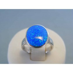 Strieborný dámsky prsteň modrý opál DPS53493 925/1000 4.93g