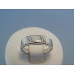 Strieborný dámsky prsteň opál zirkóny DPS53337 925/1000 3.37g