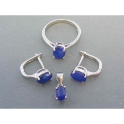 Strieborná dámska súprava modrý kameň oval DSS54648 925/1000 6.48g