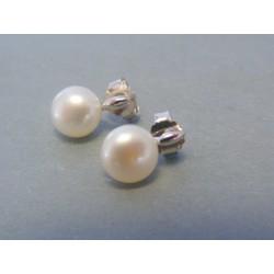 Strieborné dámske náušnice biela perla DAS202 925/1000 2.02g