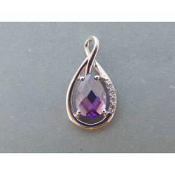 Strieborný dámsky prívesok fialový kameň DIS239 925/1000 2.39g