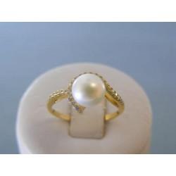Zlatý dámsky prsteň perla zirkóny žlté zlato DP56242Z 14 karátov 585/1000 2,42g