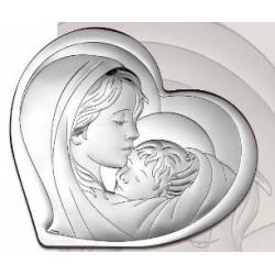 Strieborný obraz Panna Mária s Ježiškom srdce VO6433/3