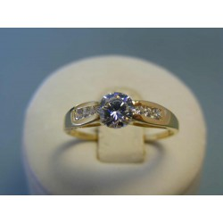 Zlatý dámsky prsteň zirkóny žlté zlato DP61246Z 14 karátov 585/1000 2,46g