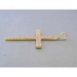 Zlatý dámsky prívesok krížik zirkóny žlté zlato DI237Z 14 karátov 585/1000 2,37g