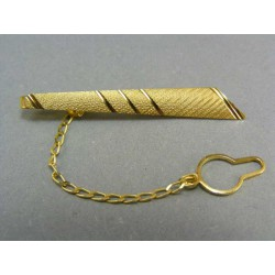 Zlatá kravatová spona žlté zlato s jemným vzorom a zárezmi VSP330Z