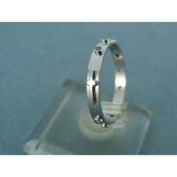 Zlatý prsteň rúženec biele zlato so zirkónmi VDP50182B 14 karátov 585/1000 1.54g